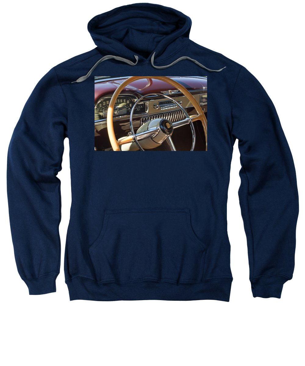 1949 Cadillac Sedanette Sweatshirt featuring the photograph 1949 Cadillac Sedanette Steering Wheel by Jill Reger