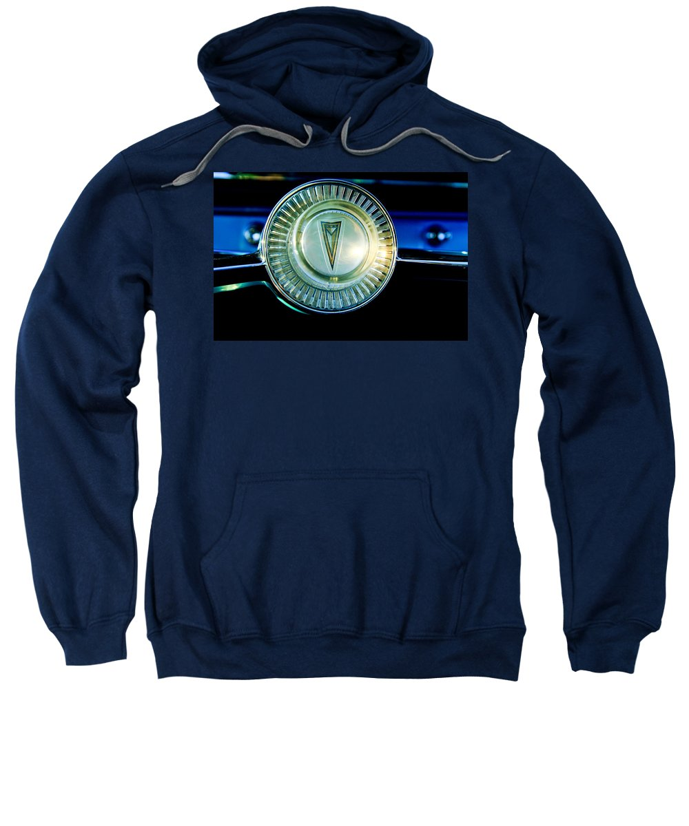 1961 Pontiac Catalina Sweatshirt featuring the photograph 1961 Pontiac Catalina Steering Wheel Emblem by Jill Reger