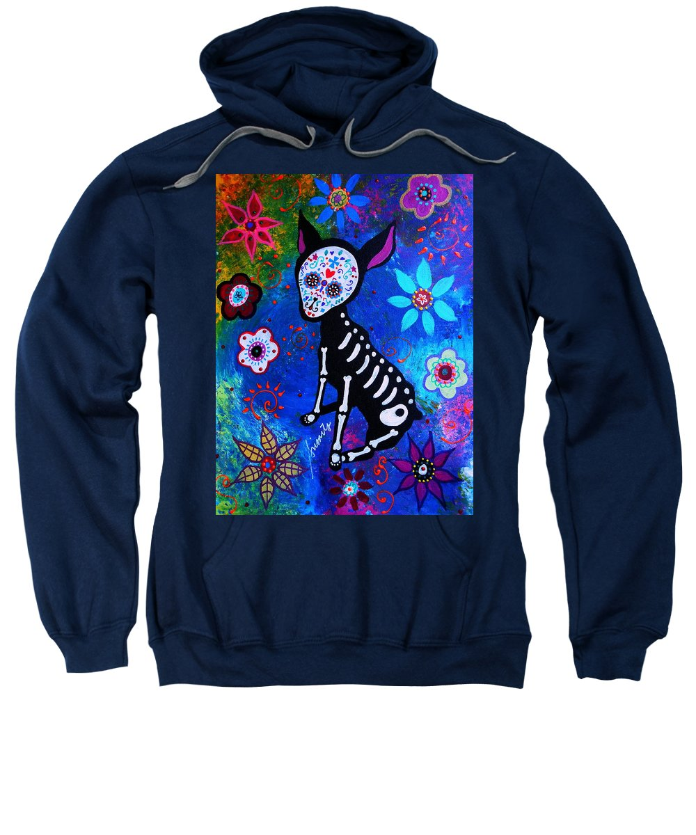 Day Of The Dead Chihuahua Sweatshirt featuring the painting Chihuahua Day Of The Dead by Pristine Cartera Turkus