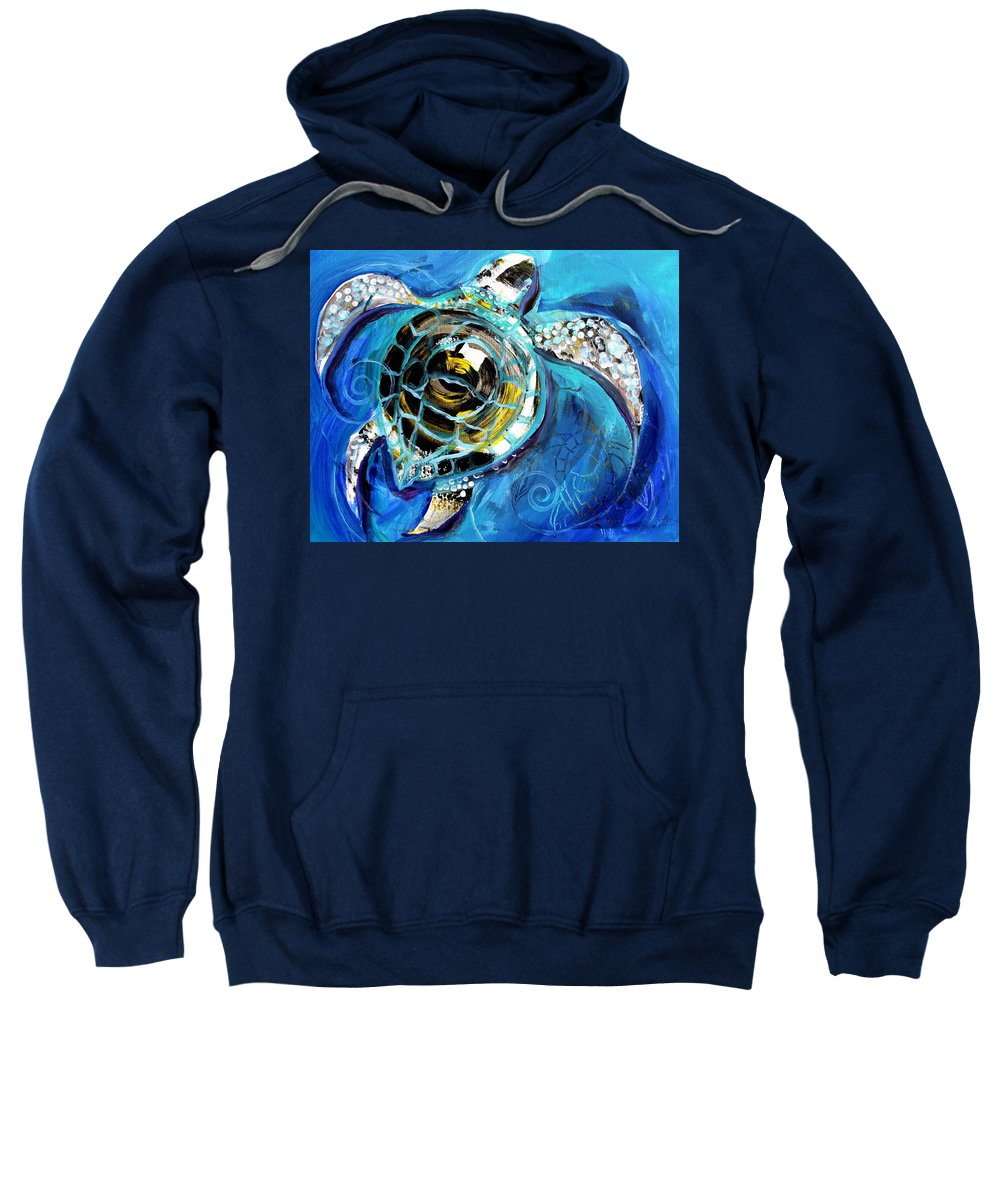 Sea Turtle Sweatshirt featuring the painting Abstract Sea Turtle In C Minor by J Vincent Scarpace