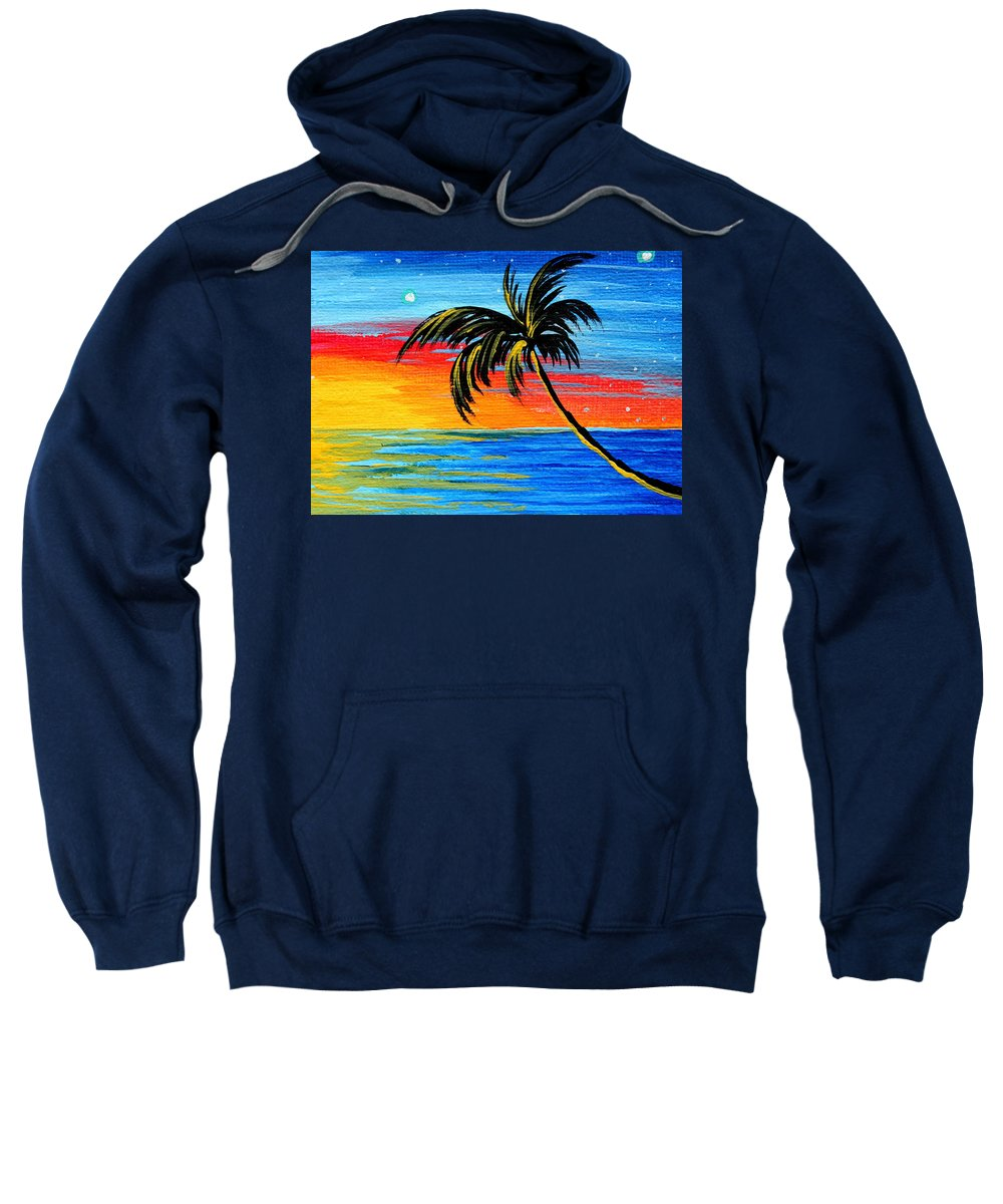 Abstract Sweatshirt featuring the painting Abstract Tropical Palm Tree Painting Tropical Goodbye By Madart by Megan Duncanson