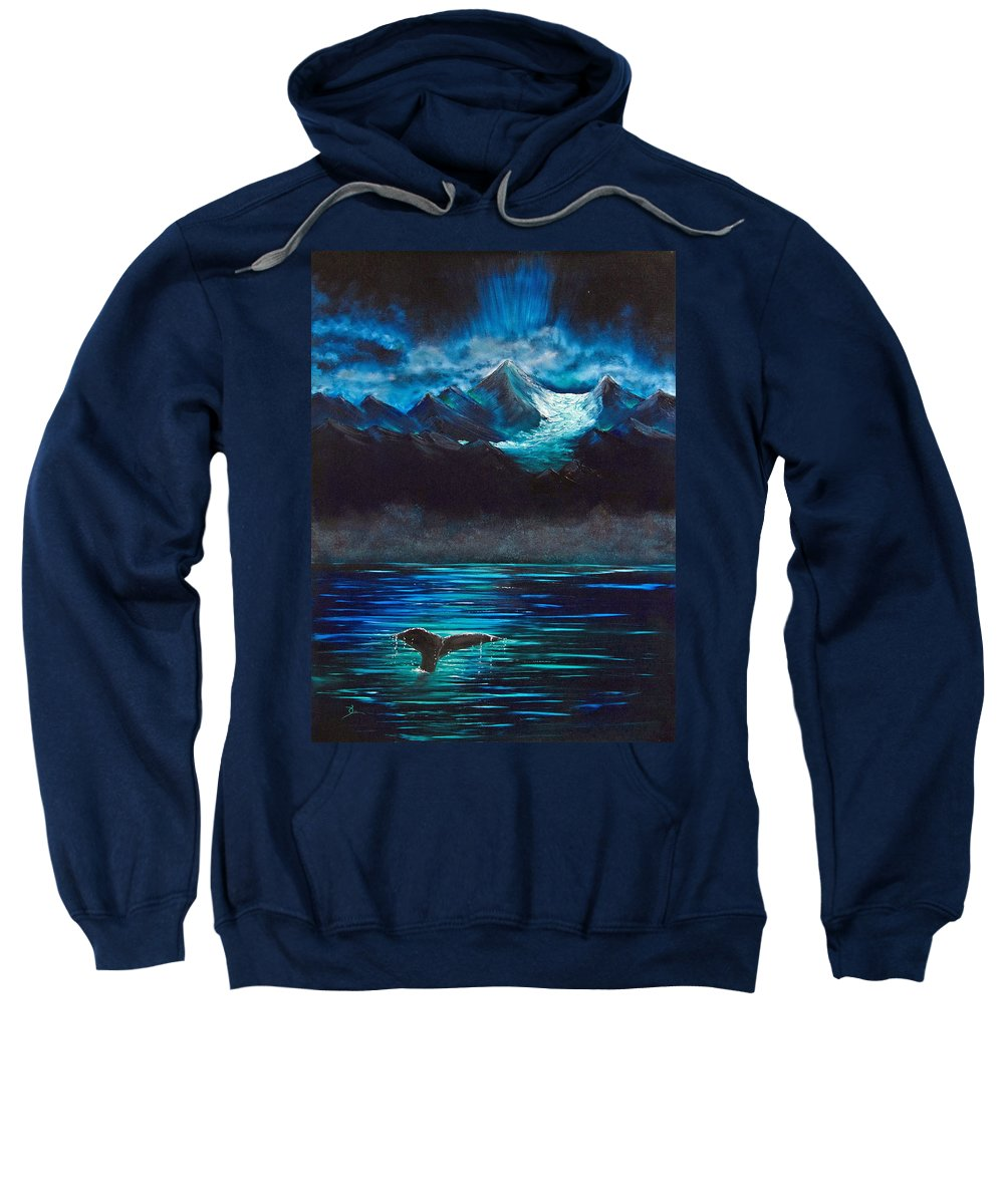 Alaska Sweatshirt featuring the painting At Play Under The Glacier by Dee Carpenter