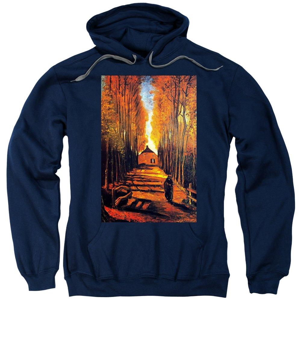 Impressionism Sweatshirt featuring the painting Avenue At Poplars by Sumit Mehndiratta