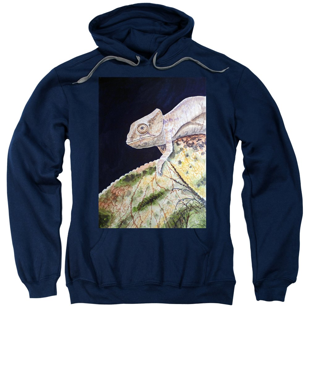 Chameleon Sweatshirt featuring the painting Baby Chameleon by Irina Sztukowski