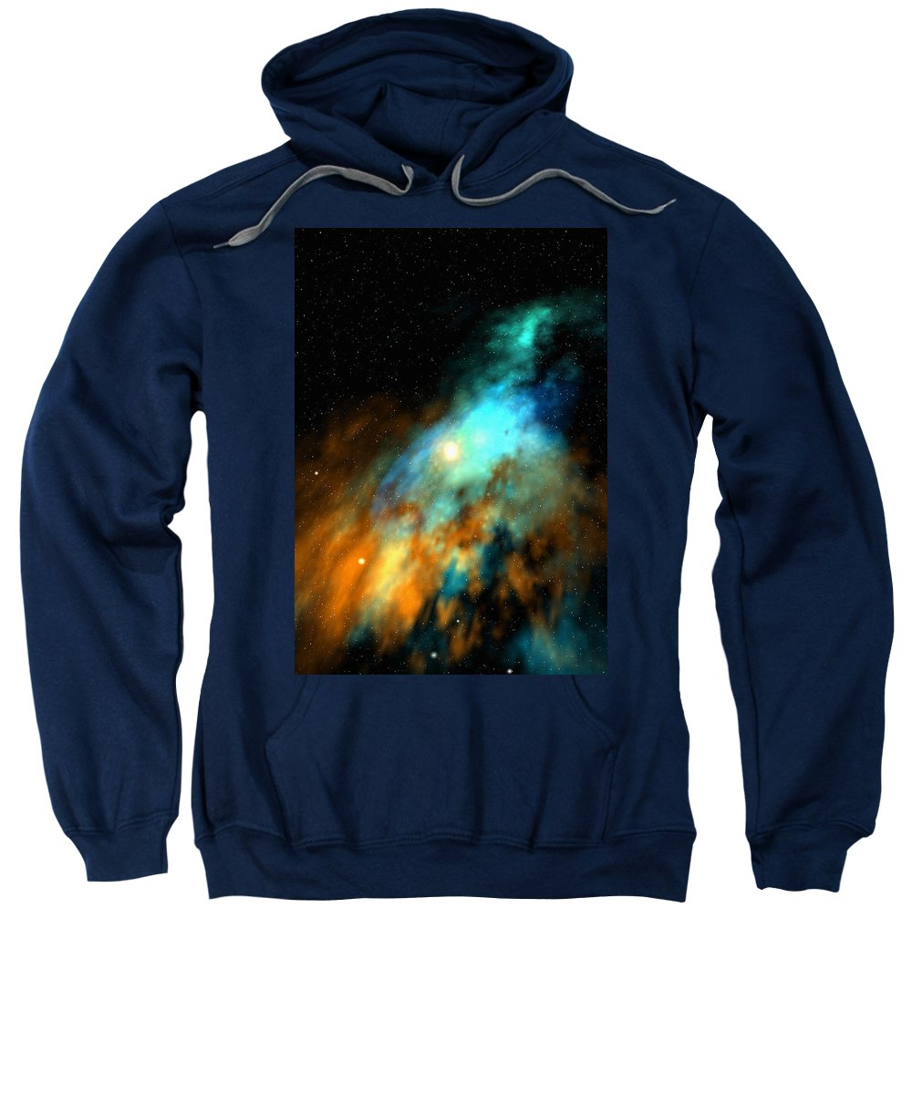Nebula Space Art Sweatshirt featuring the digital art Beducas Nebula by Robert aka Bobby Ray Howle