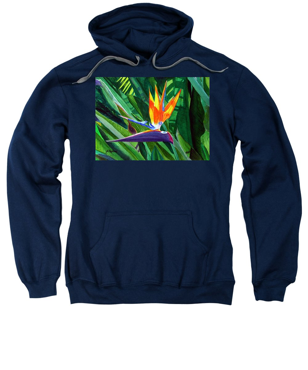 Flower Sweatshirt featuring the painting Bird-of-paradise by Mike Robles