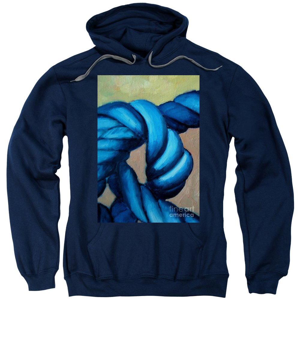 Knot Sweatshirt featuring the painting Blue Rope 2 by Ana Maria Edulescu