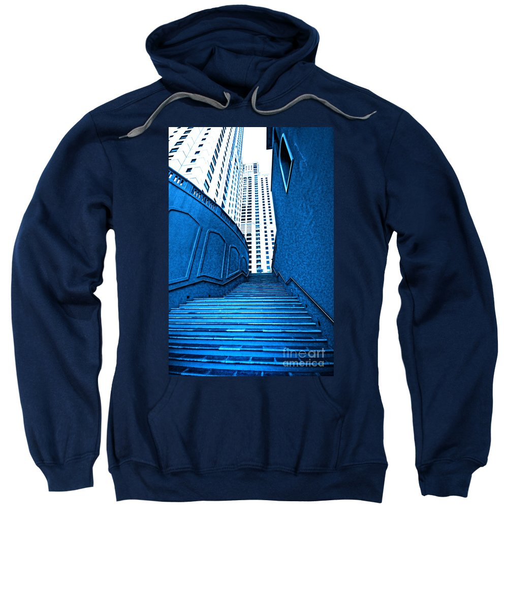 Stairs Sweatshirt featuring the photograph Blue Stairs by Charuhas Images