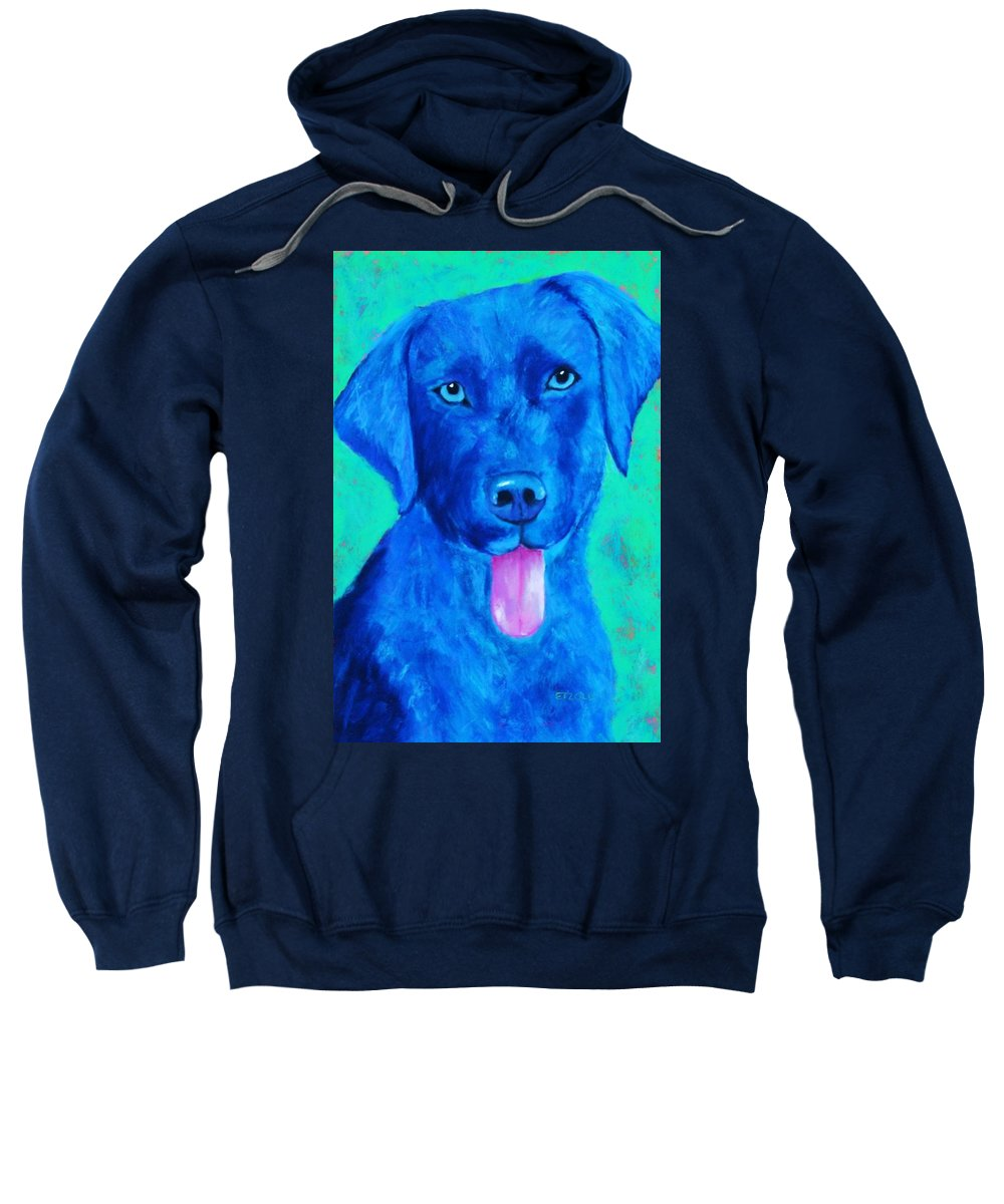 Lab Sweatshirt featuring the painting Boomer by Melinda Etzold