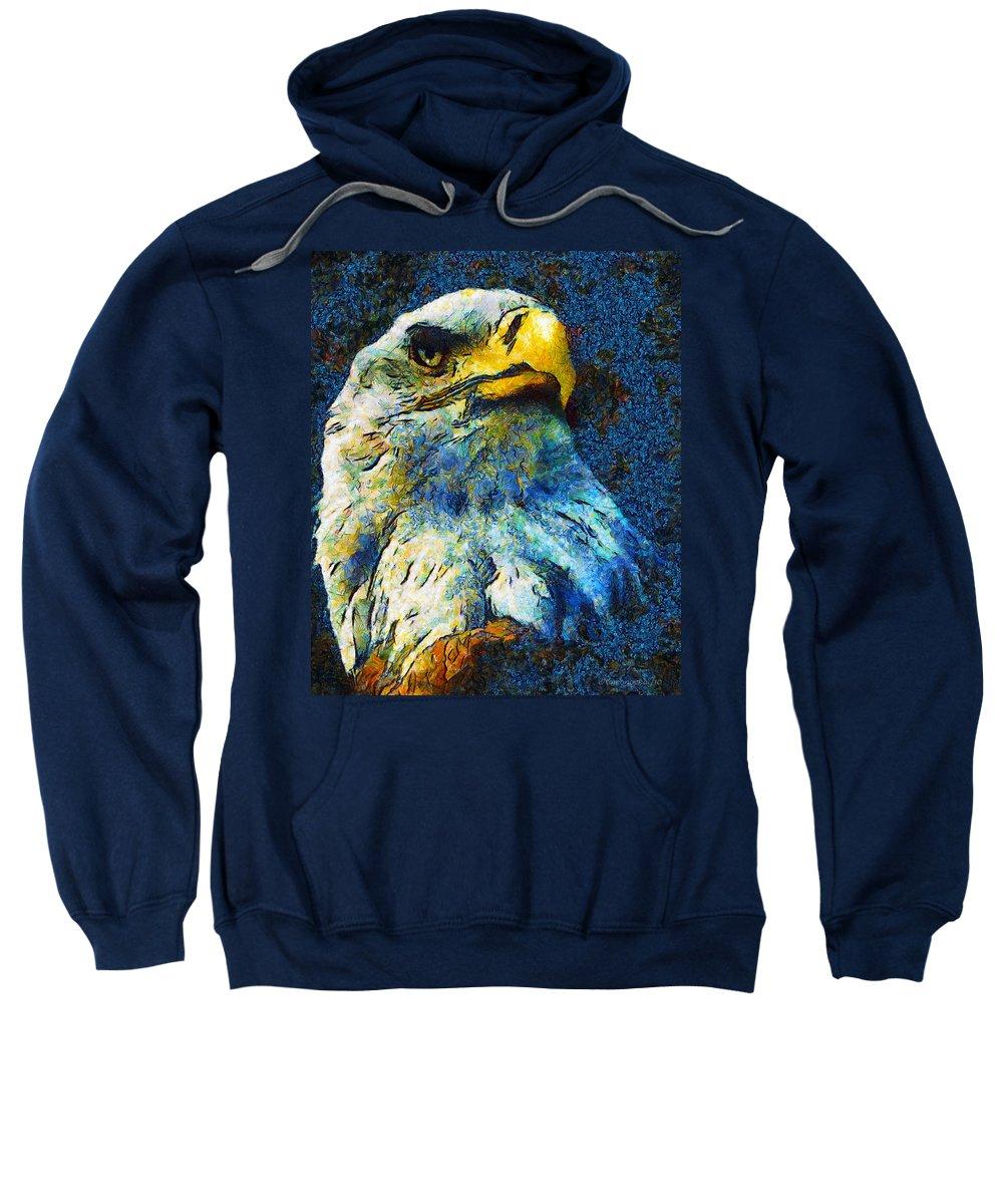 Eagle Sweatshirt featuring the mixed media Born To Be Free by Georgiana Romanovna