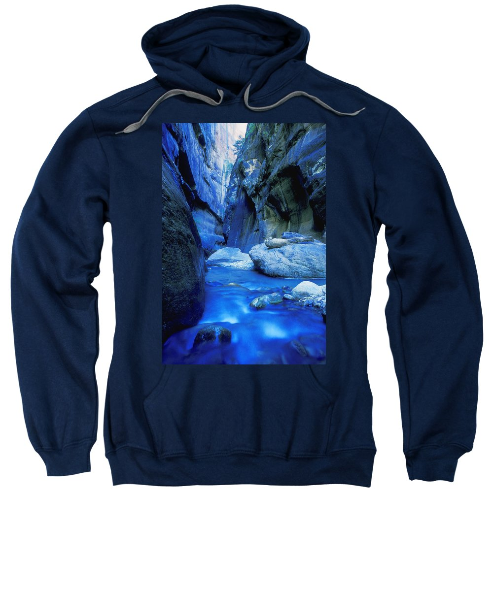Boulder Sweatshirt featuring the photograph Boulder Filled River At Bottom Of Canyon by Don Hammond