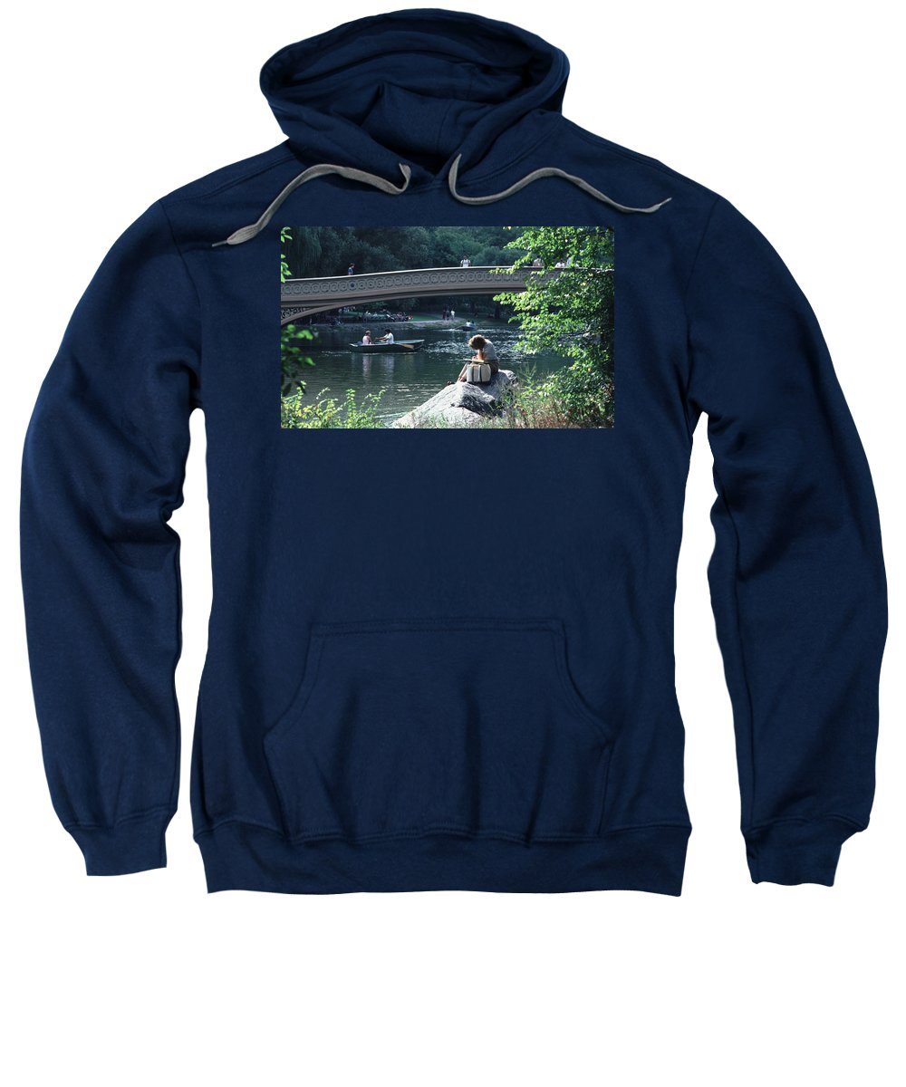 Arch Sweatshirt featuring the photograph Bow Bridge In Central Park Nyc by Tom Wurl