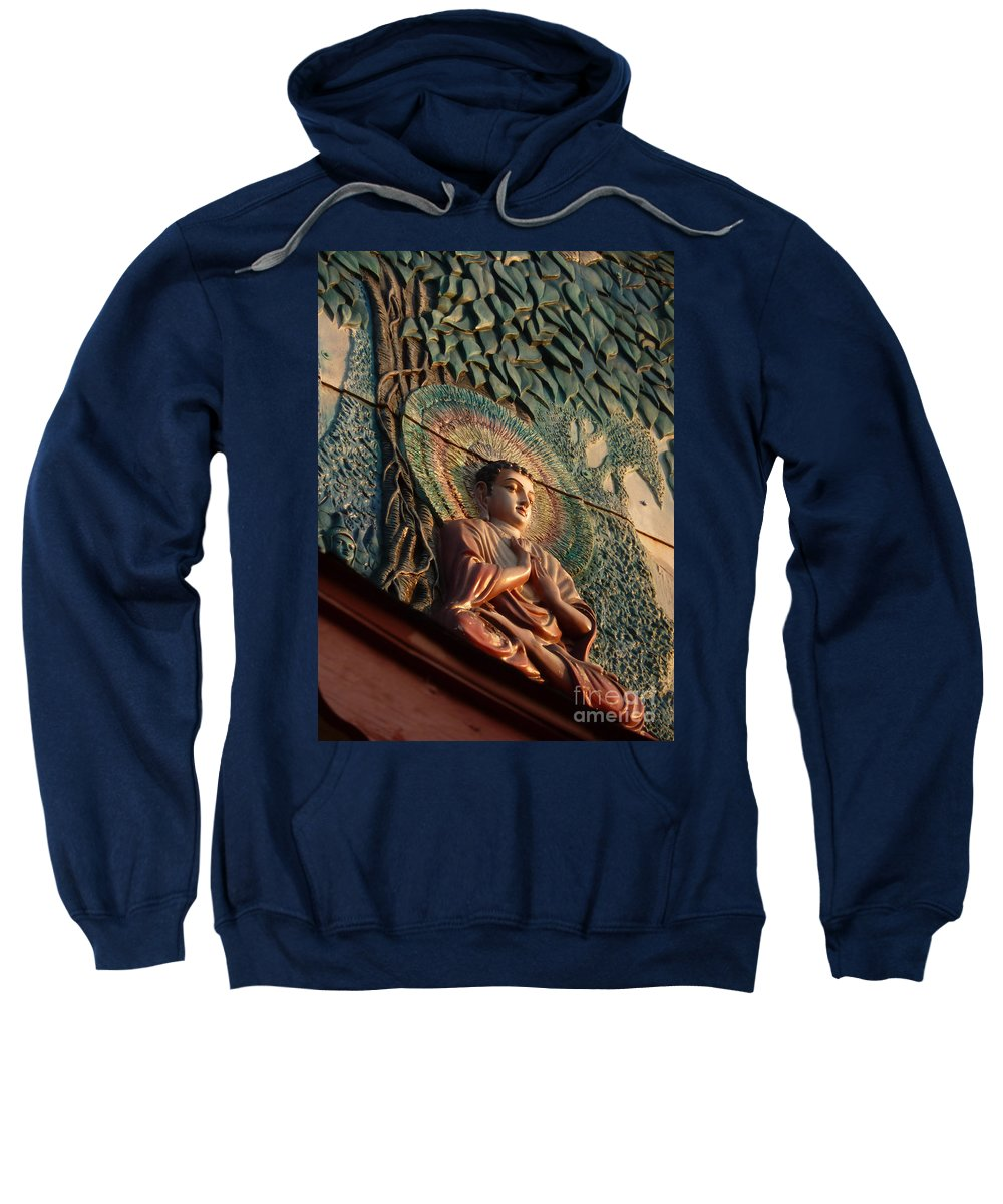 Leaf Sweatshirt featuring the photograph Buddha Relief by Angela Wright