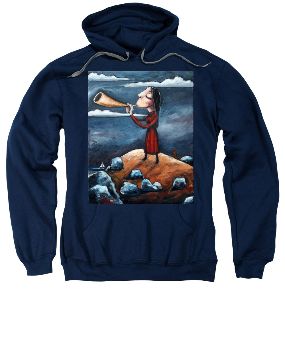 Horn Sweatshirt featuring the painting Calling by Leanne Wilkes