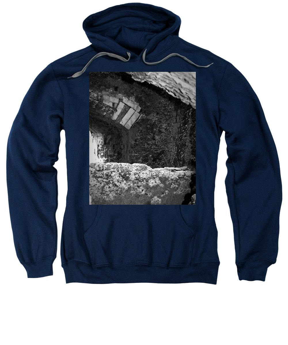 Urban Exploration Sweatshirt featuring the photograph Caving In by April Davis