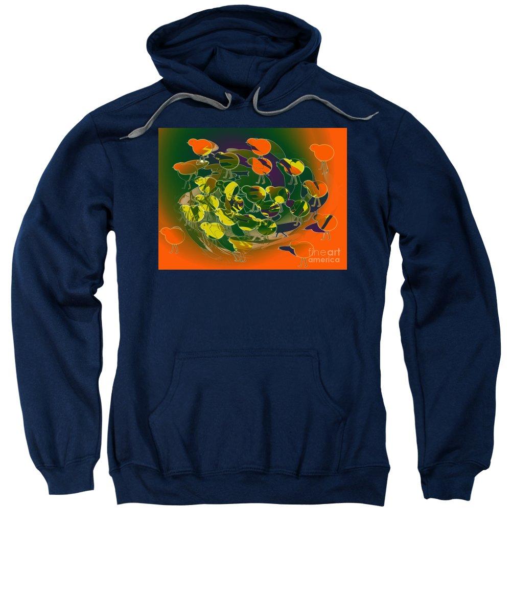 Chickens Sweatshirt featuring the digital art Chicks by Tom Hubbard