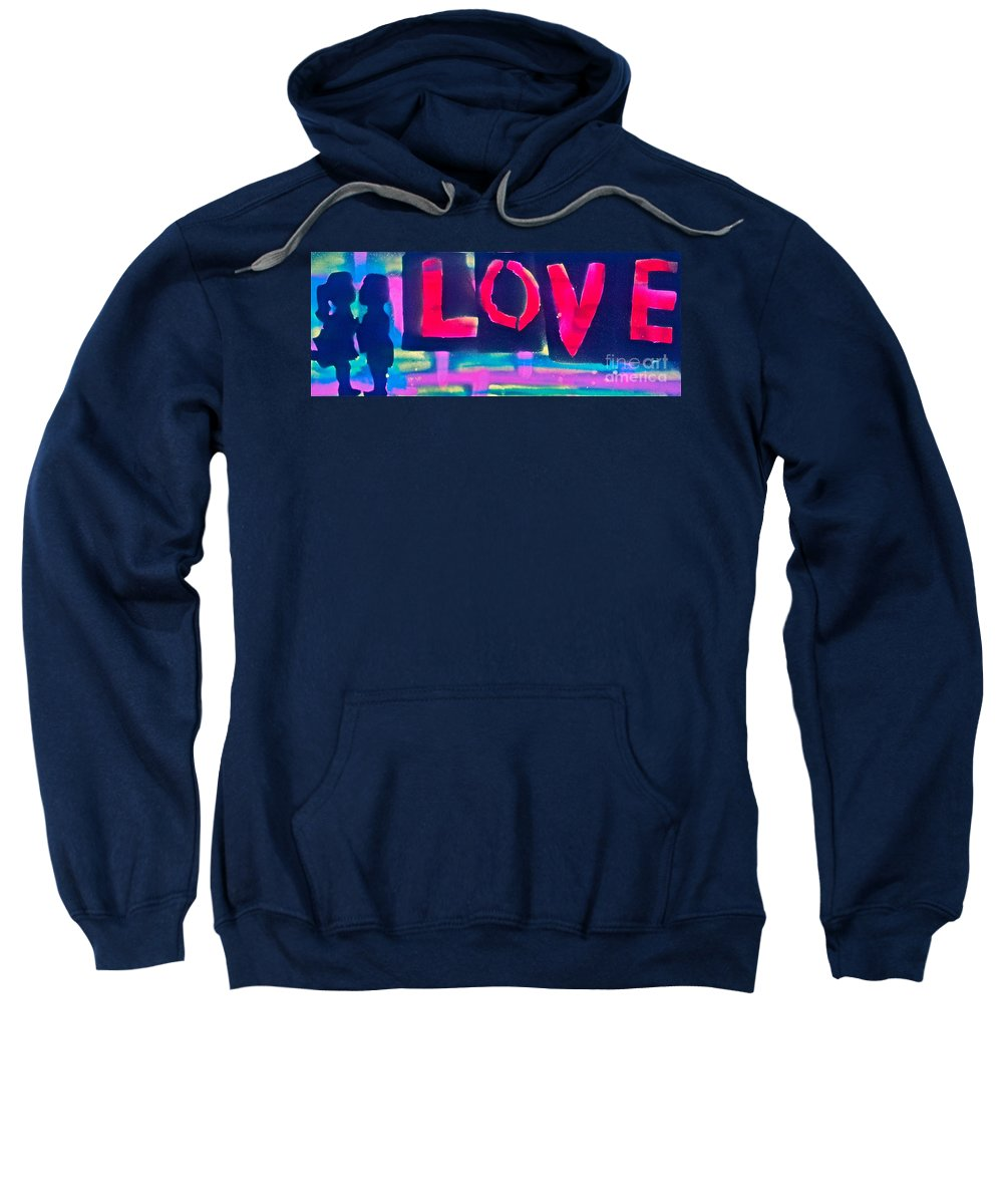 Love Paintings Sweatshirt featuring the painting Children's Love by Tony B Conscious