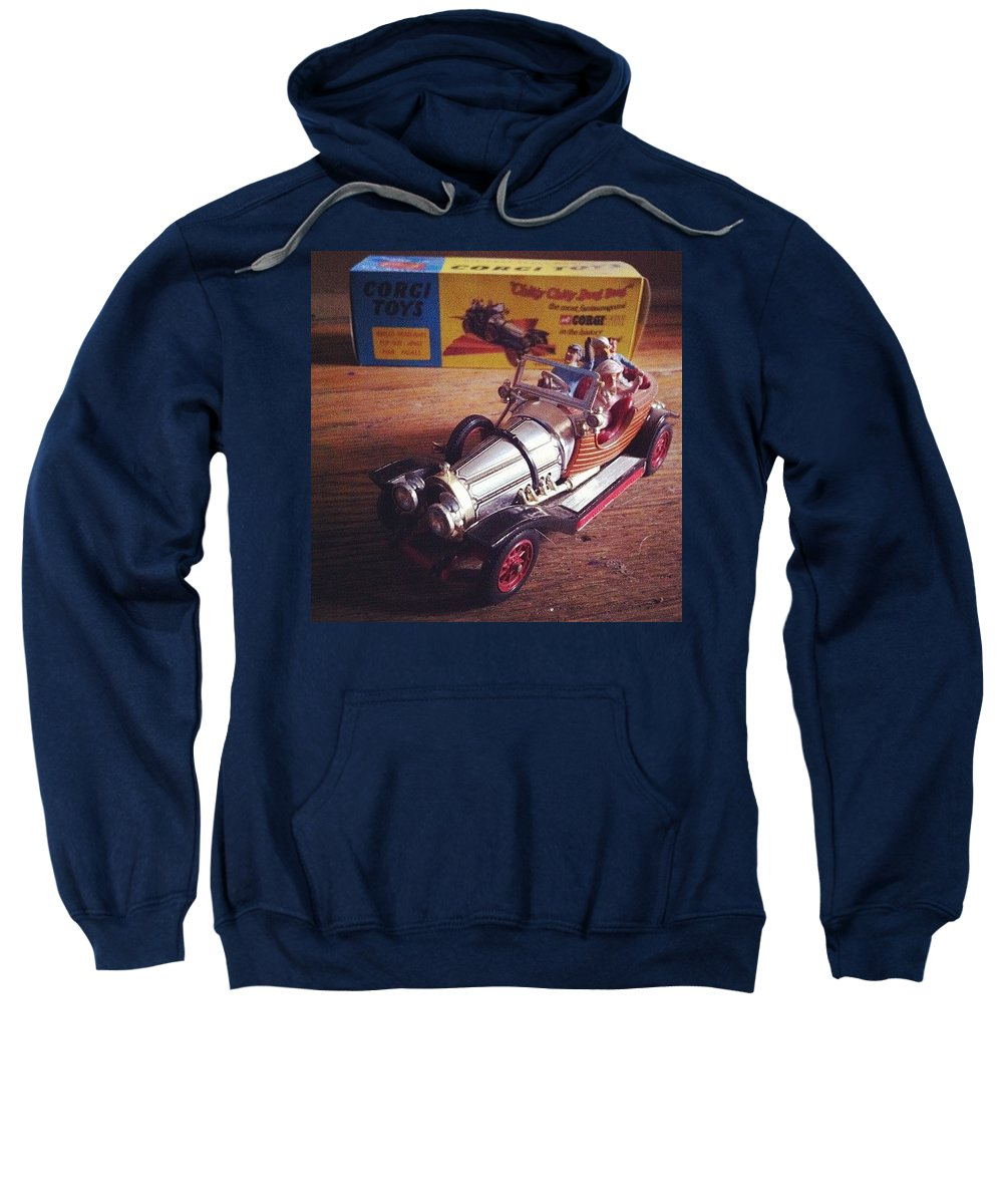 Car Sweatshirt featuring the photograph Chitty Chitty Bang Bang Corgi Toy by Katie Cupcakes