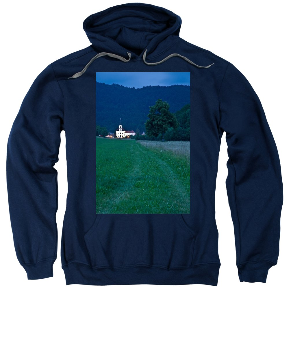 Cerklje Sweatshirt featuring the photograph Church Of The Annunciation At Dusk by Ian Middleton