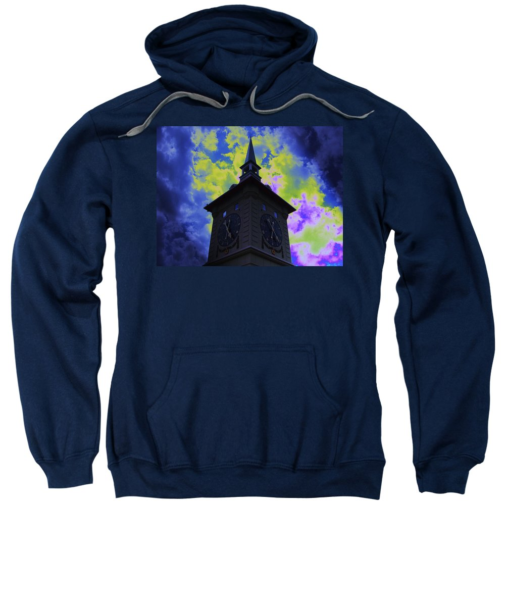 Clock Tower Sweatshirt featuring the photograph Clock Tower Night by Linda Francis