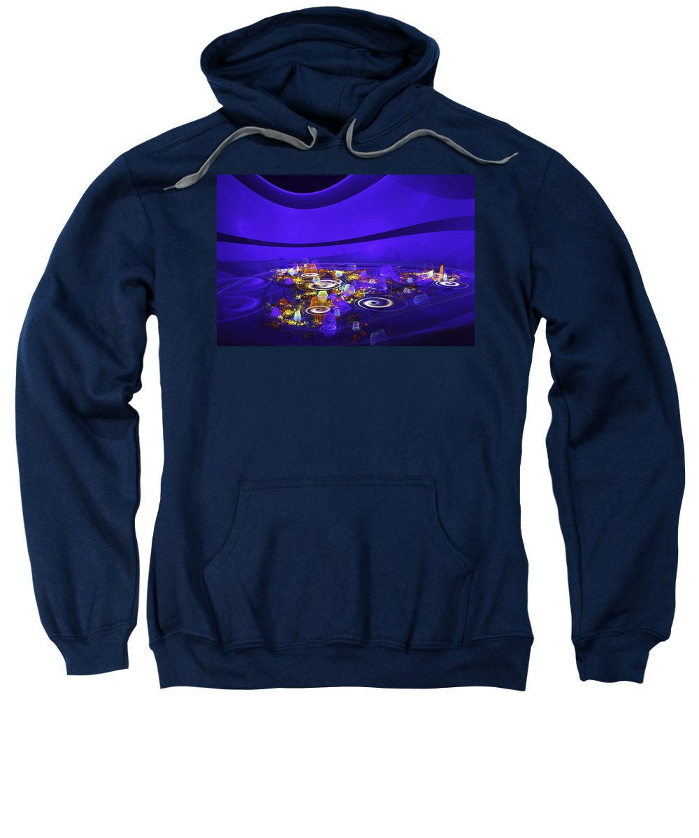 Blue Sweatshirt featuring the digital art Computer Generated Blue Abstract Fractal Flame Modern Art by Keith Webber Jr