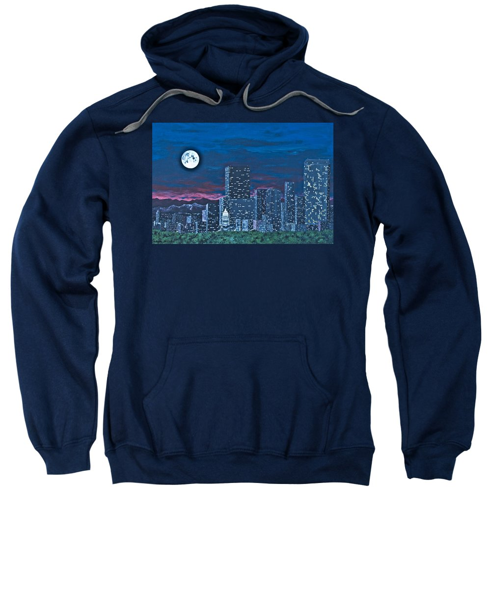 Landscape Sweatshirt featuring the painting Denver Moon by Marla Saville
