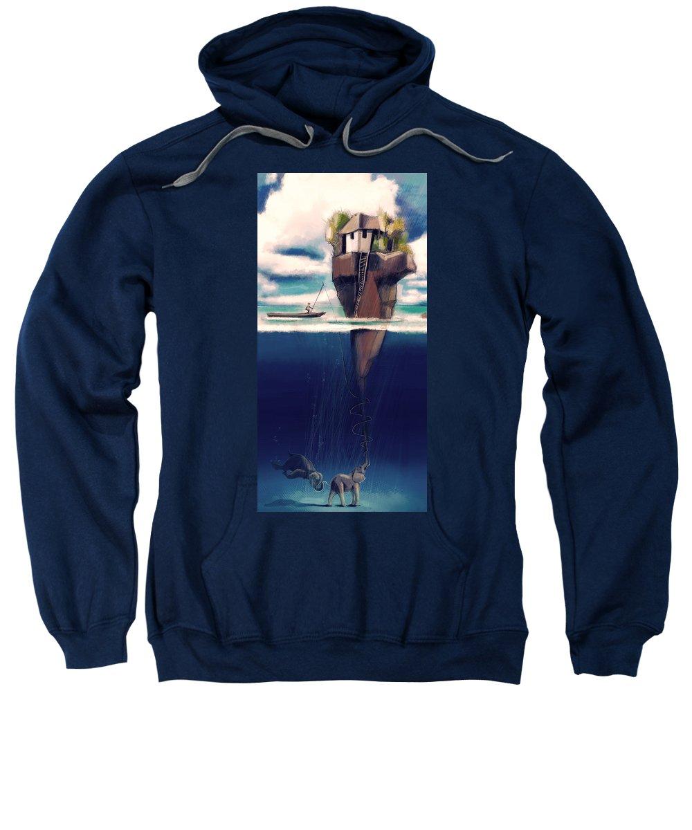 Dream Sweatshirt featuring the digital art Dream Island by Zdralea Ioana