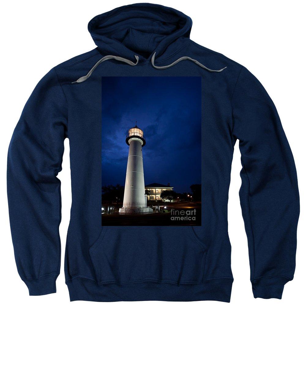 Biloxi Sweatshirt featuring the photograph Evening Lighthouse by Joan McCool