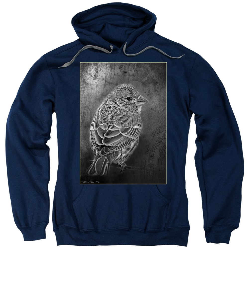 Nature Sweatshirt featuring the photograph Finch Black And White by Debbie Portwood
