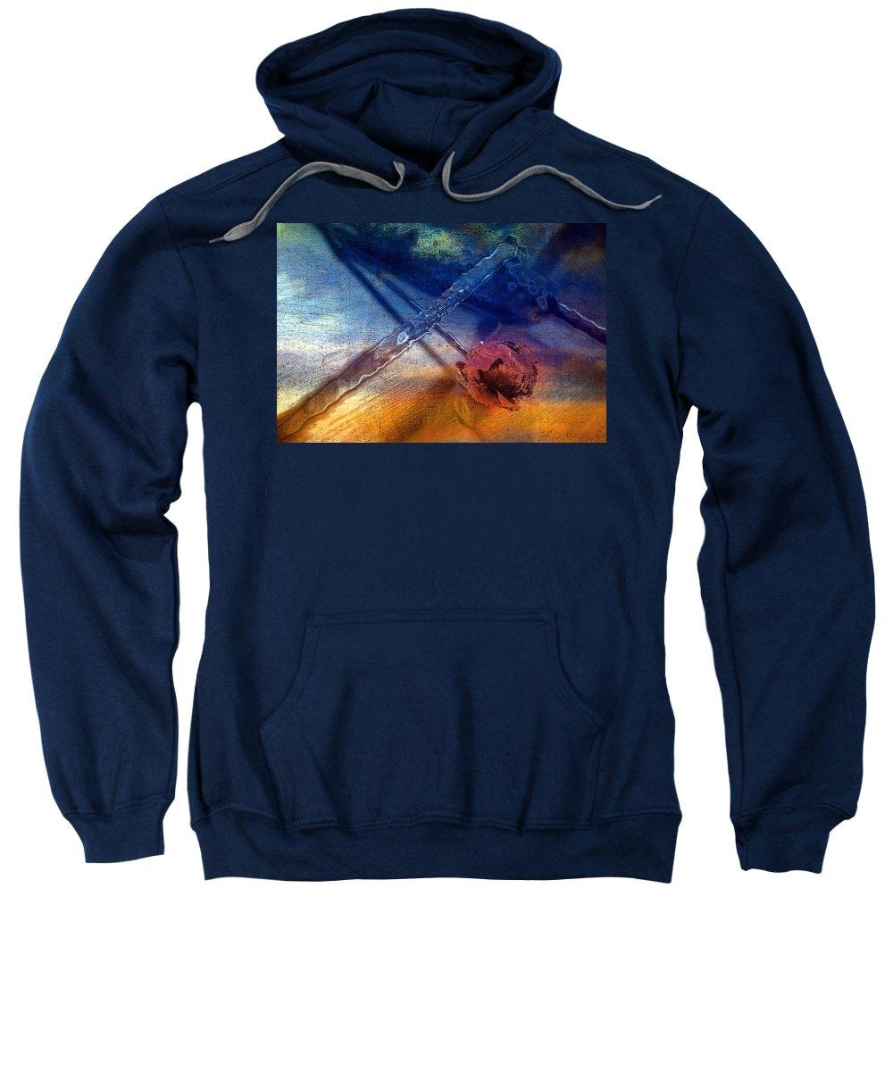 Art Sweatshirt featuring the pyrography Flower 2 by Mauro Celotti
