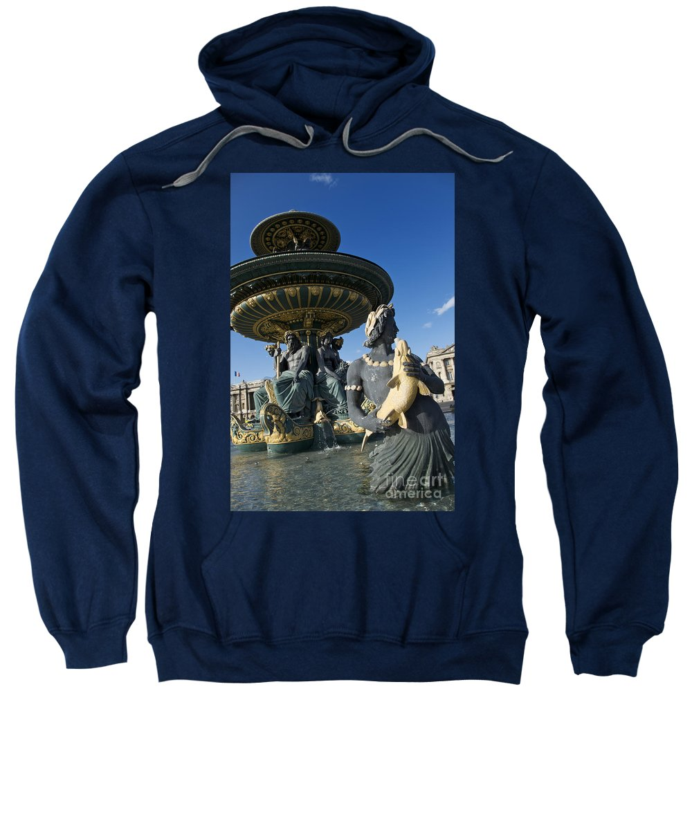 Paris Sweatshirt featuring the photograph Fountain At Place De La Concorde. Paris. France by Bernard Jaubert