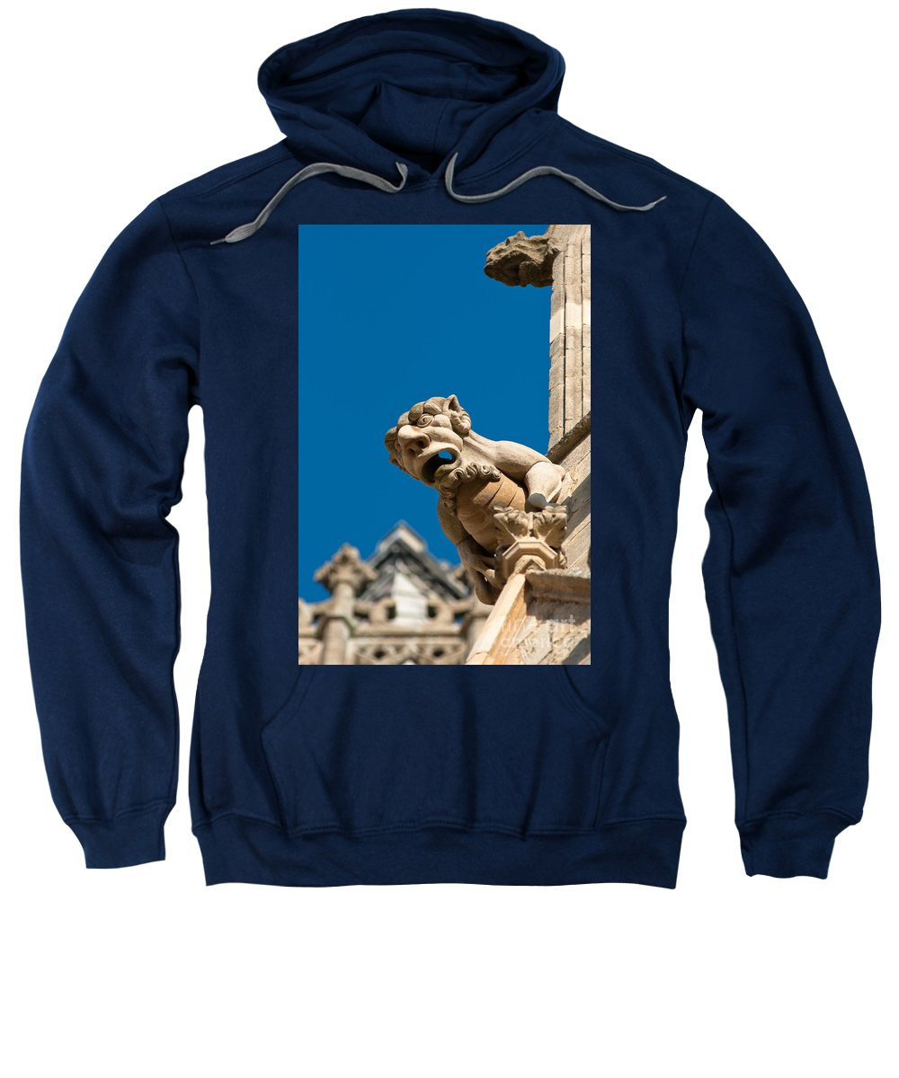 Above Sweatshirt featuring the photograph Gargoyle by Andrew Michael