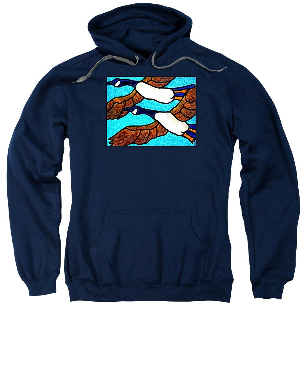 Geese Sweatshirt featuring the painting Geese In Flight by Jim Harris