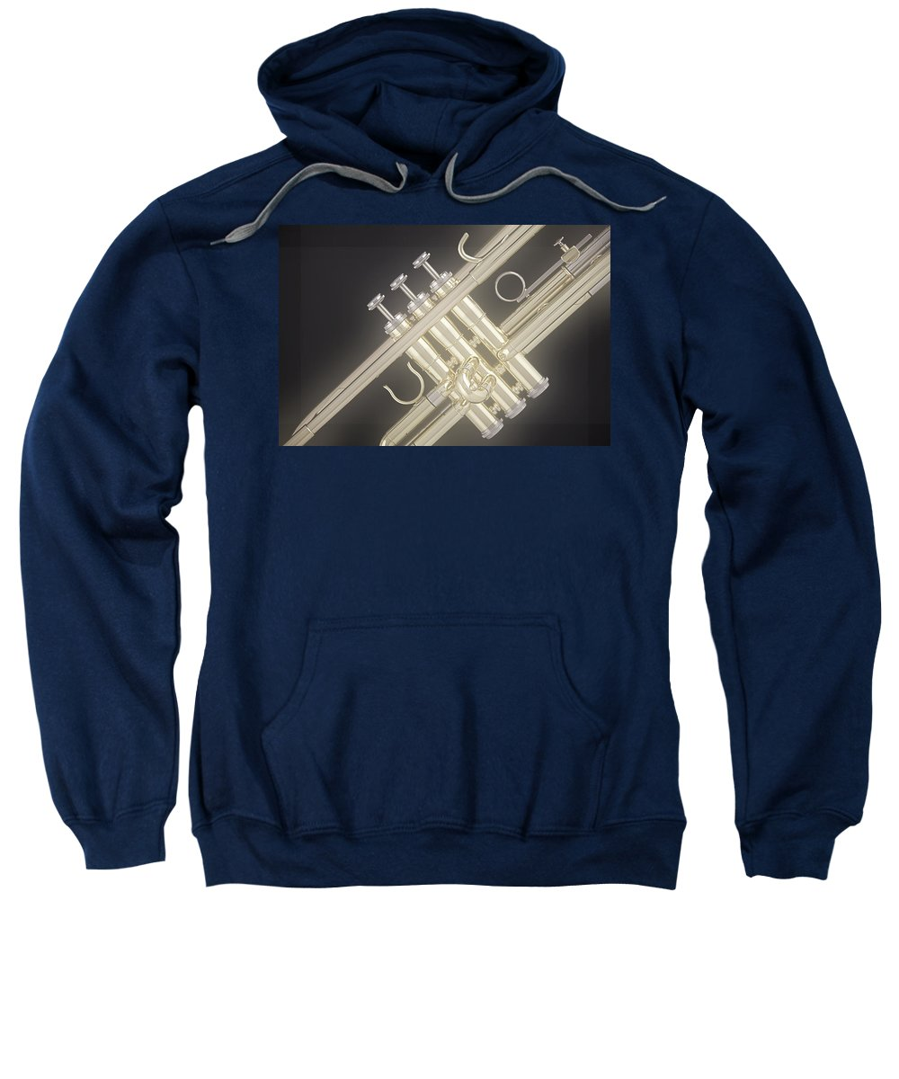 Fine Art Sweatshirt featuring the photograph Gold Trumpet On Black by M K Miller