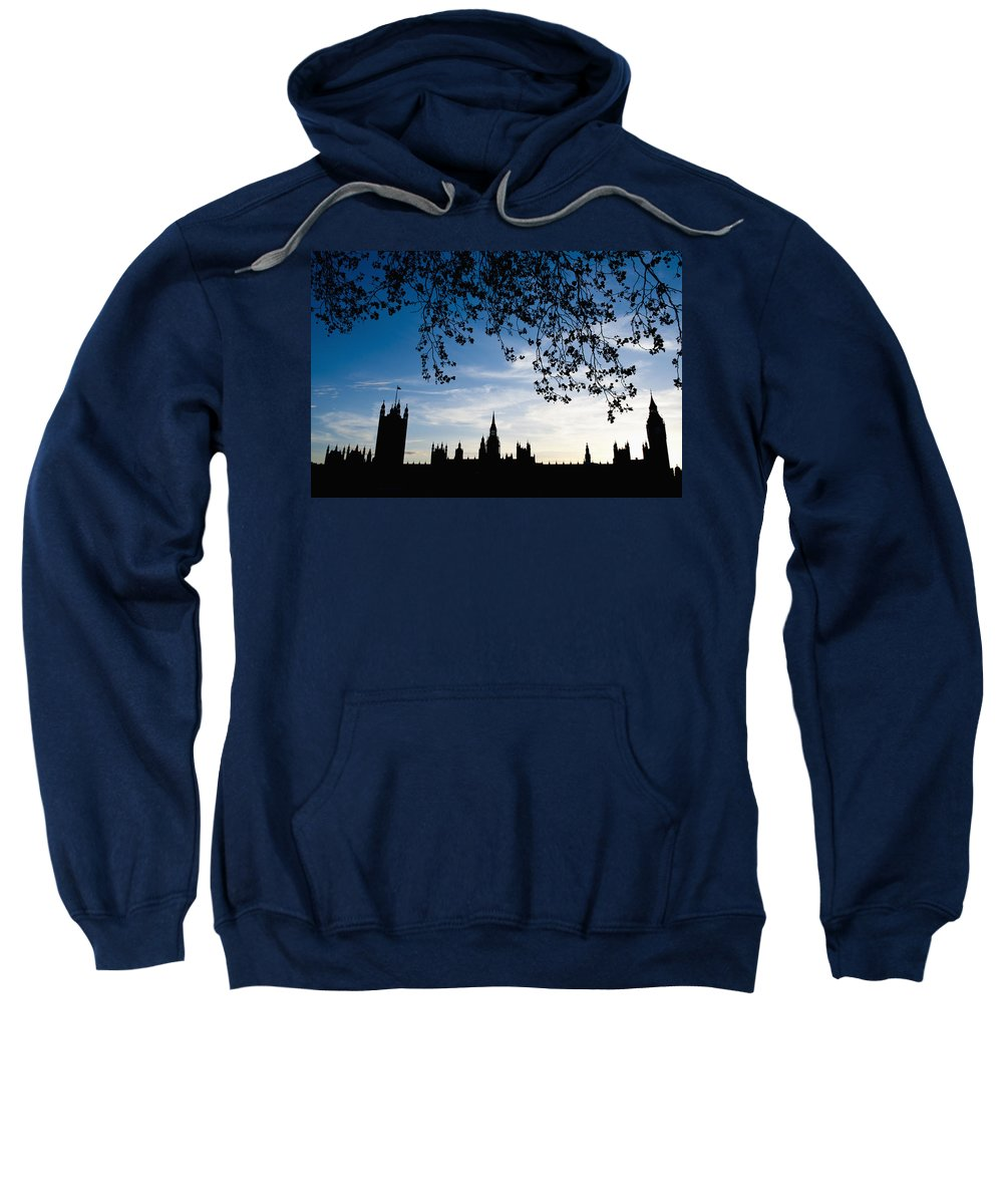 Bankside Sweatshirt featuring the photograph Houses Of Parliament Silhouette by Axiom Photographic