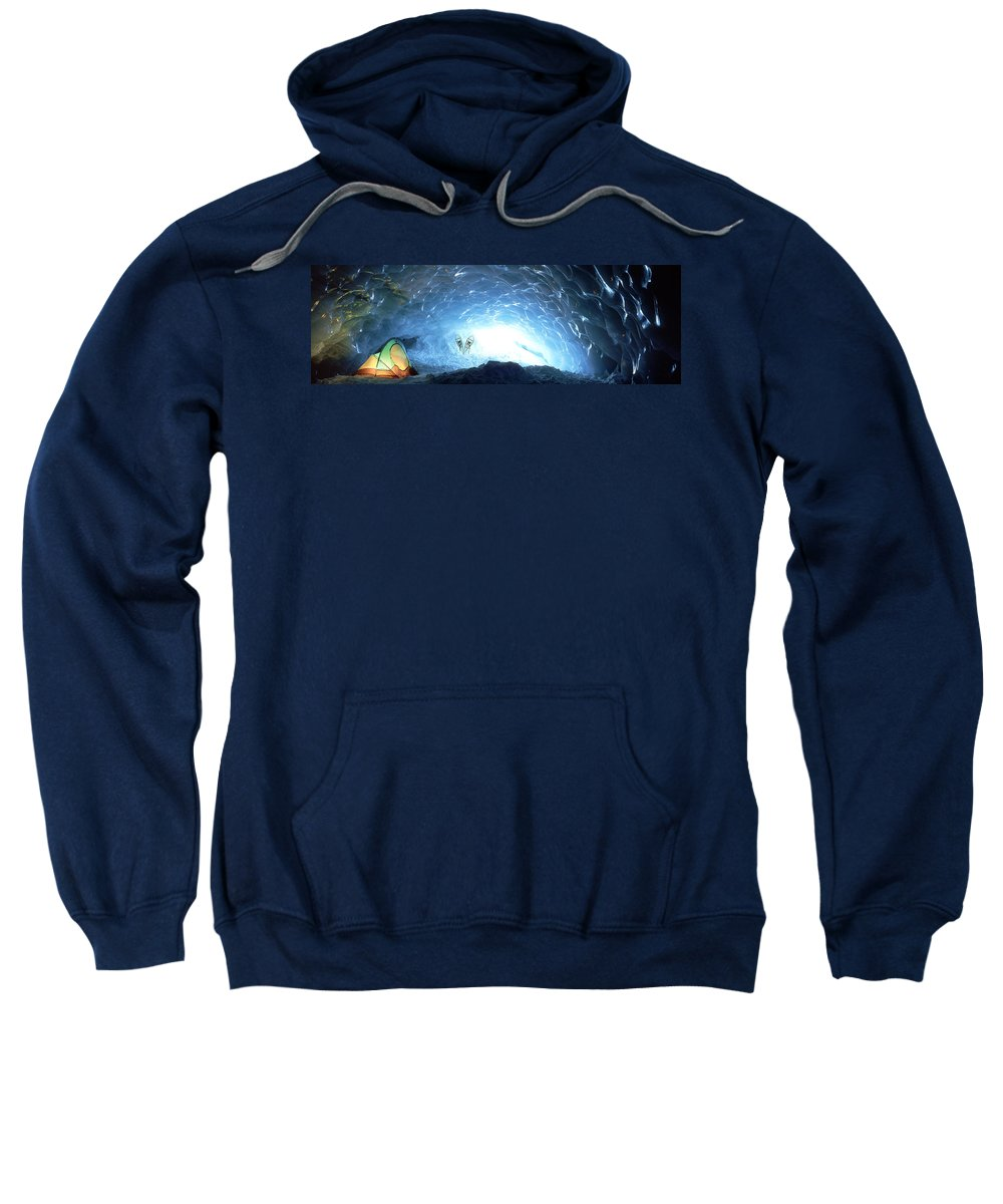 Adventuring Sweatshirt featuring the photograph Ice Cave, Appa Glacier, Pemberton Ice by David Nunuk