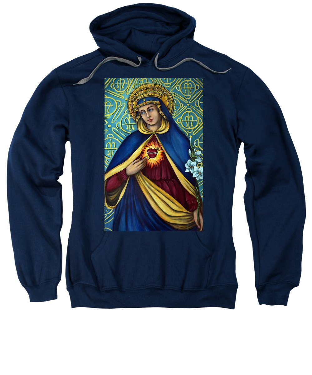 Blessed Virgin Mary Sweatshirt featuring the painting Immaculate Heart by Valerie Vescovi