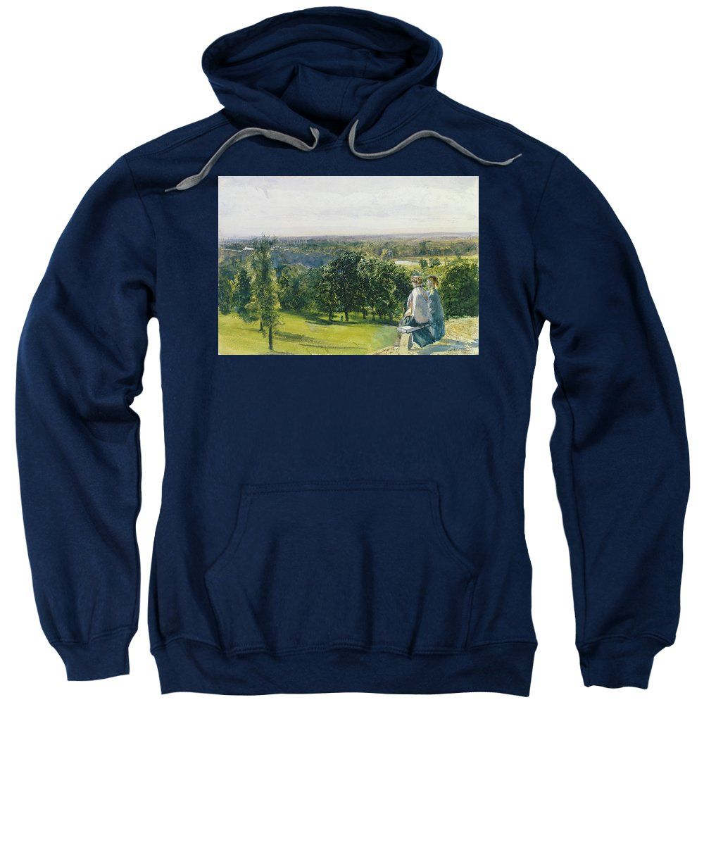 Xyc281155 Sweatshirt featuring the photograph In Richmond Park by John William Inchbold