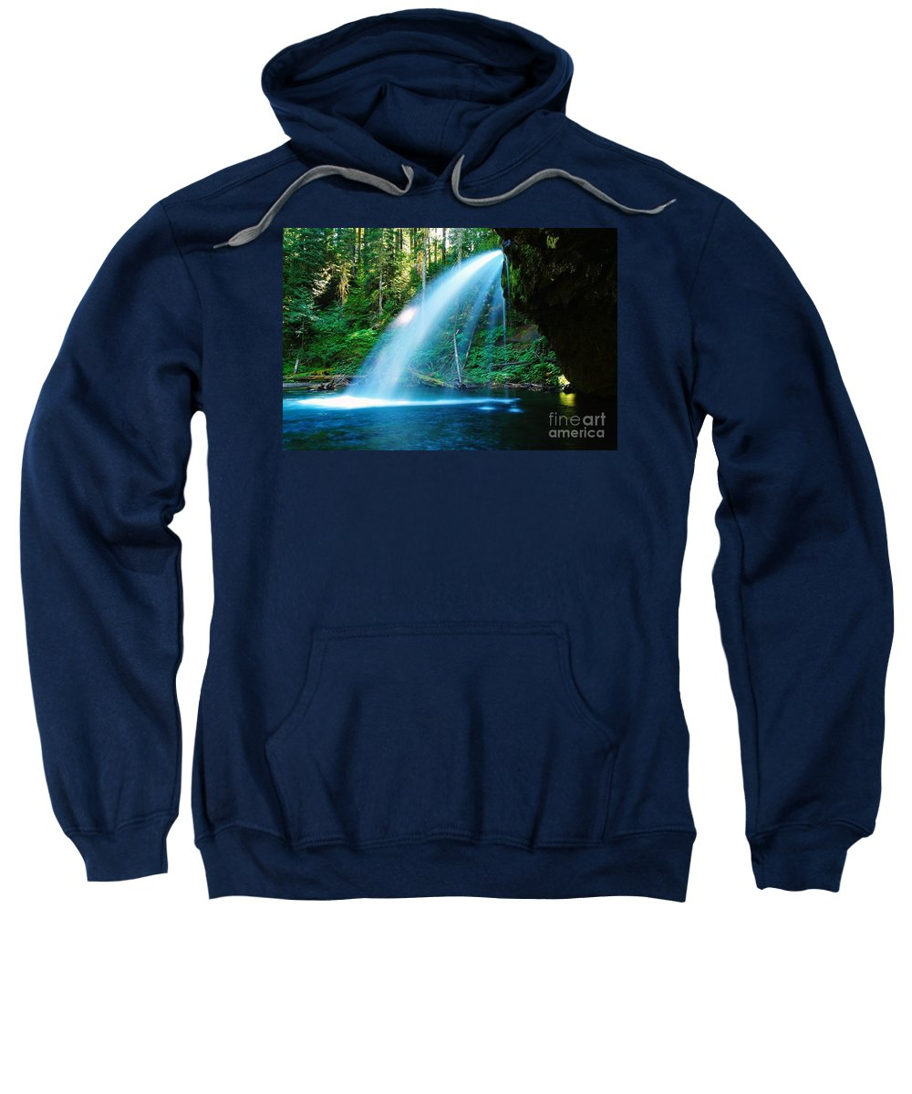 Water. Fall Sweatshirt featuring the photograph Iron Creek Falls From The Side by Jeff Swan