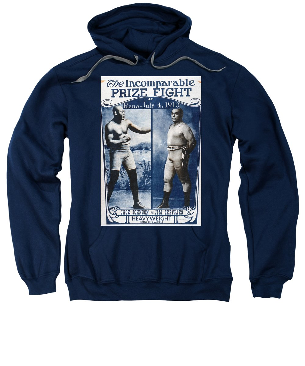 1910 Sweatshirt featuring the photograph Johnson Vs. Jeffries, 1910 by Granger