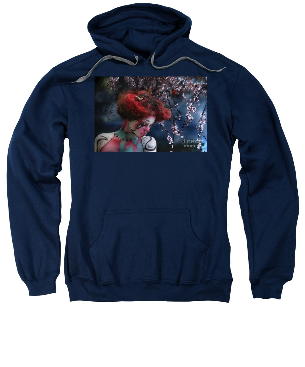 Spring Sweatshirt featuring the digital art Lady Spring Silence by Rosa Cobos