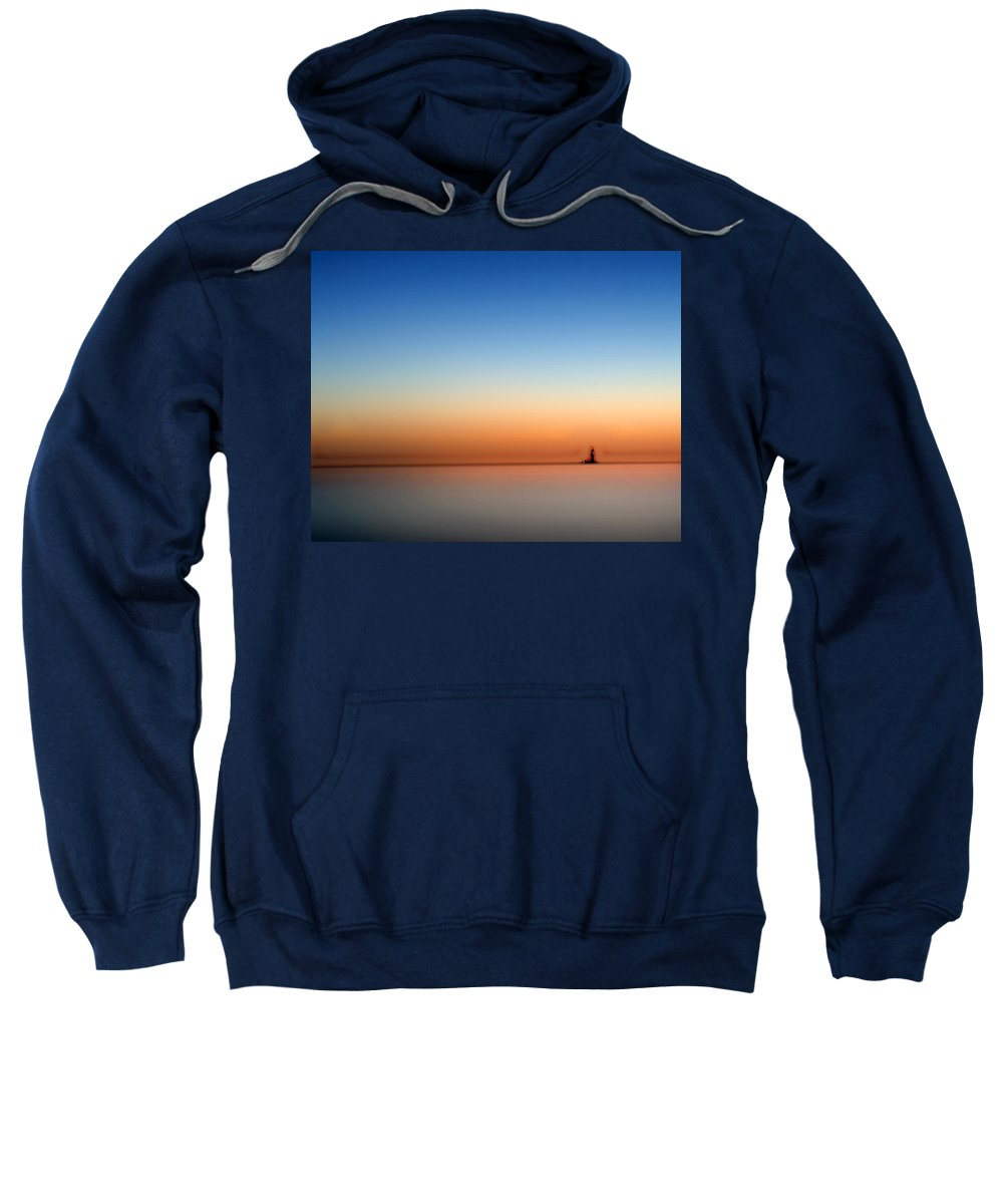 Lakeerie Sweatshirt featuring the photograph Lake Eriesundown Smooth by Randall Branham