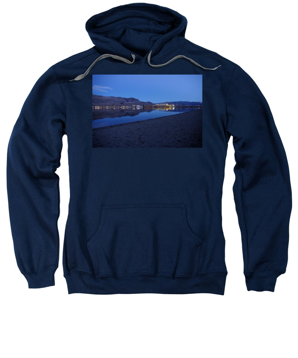Blue Sweatshirt featuring the photograph Liquid Blue Reflections 1 by John Greaves