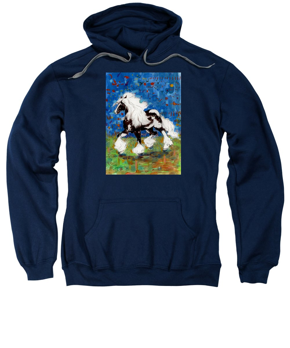Horses Sweatshirt featuring the painting Majestic One by Mary Armstrong