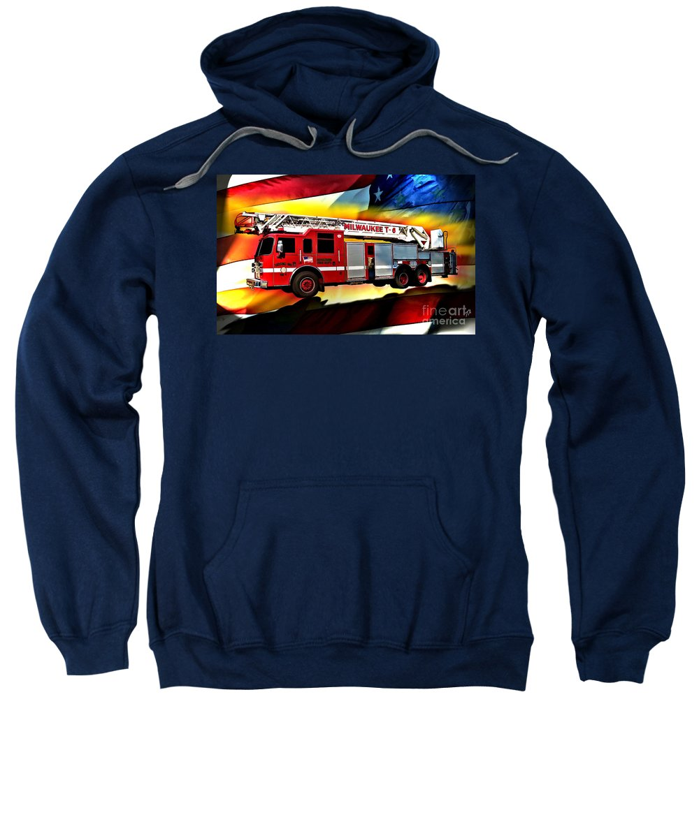 Fire Truck Sweatshirt featuring the digital art Milwaukee Truck 6 by Tommy Anderson