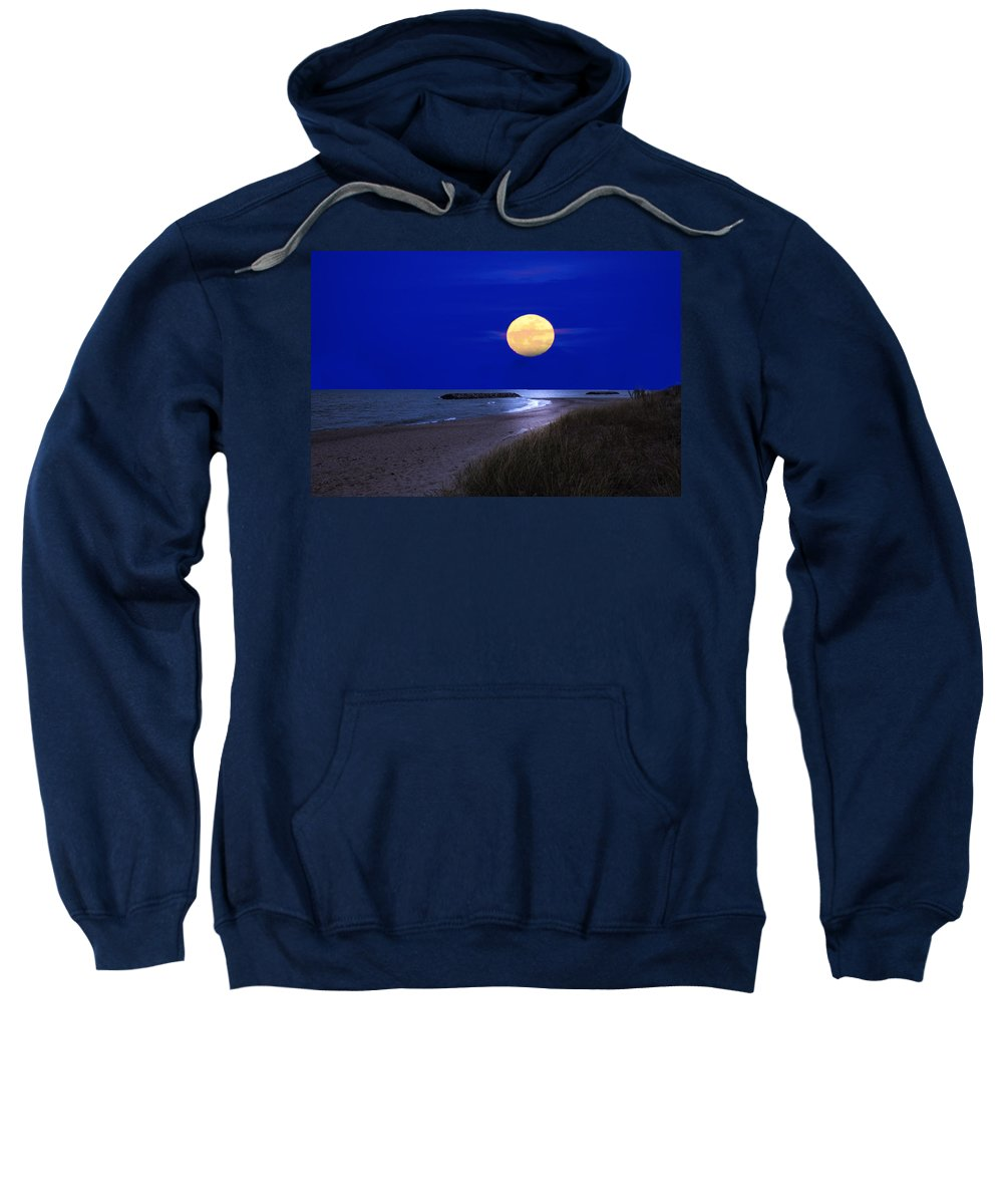 Moon Sweatshirt featuring the photograph Moon On The Beach by Randall Branham