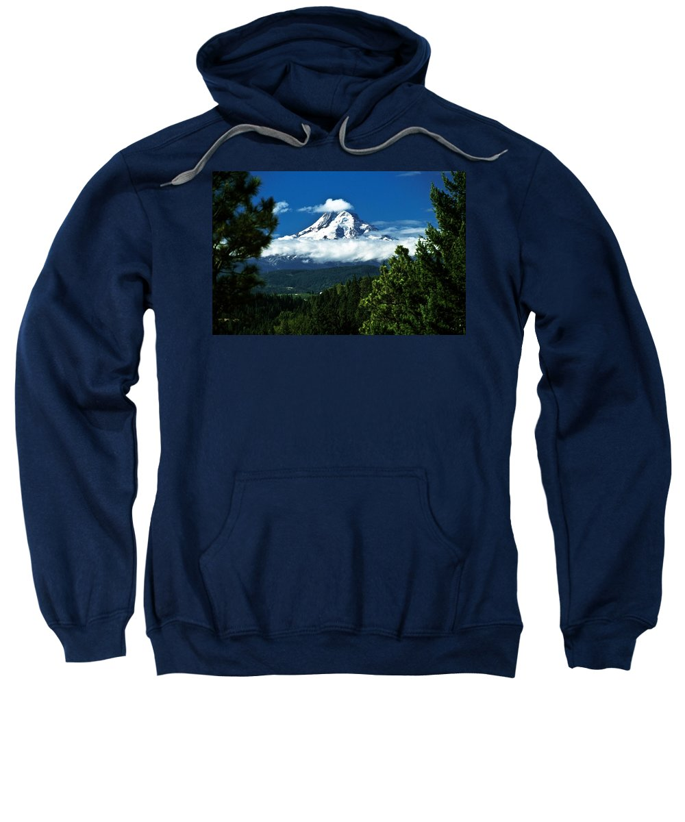 Clouds Sweatshirt featuring the photograph Mount Hood Framed By Trees, Oregon, Usa by John Doornkamp