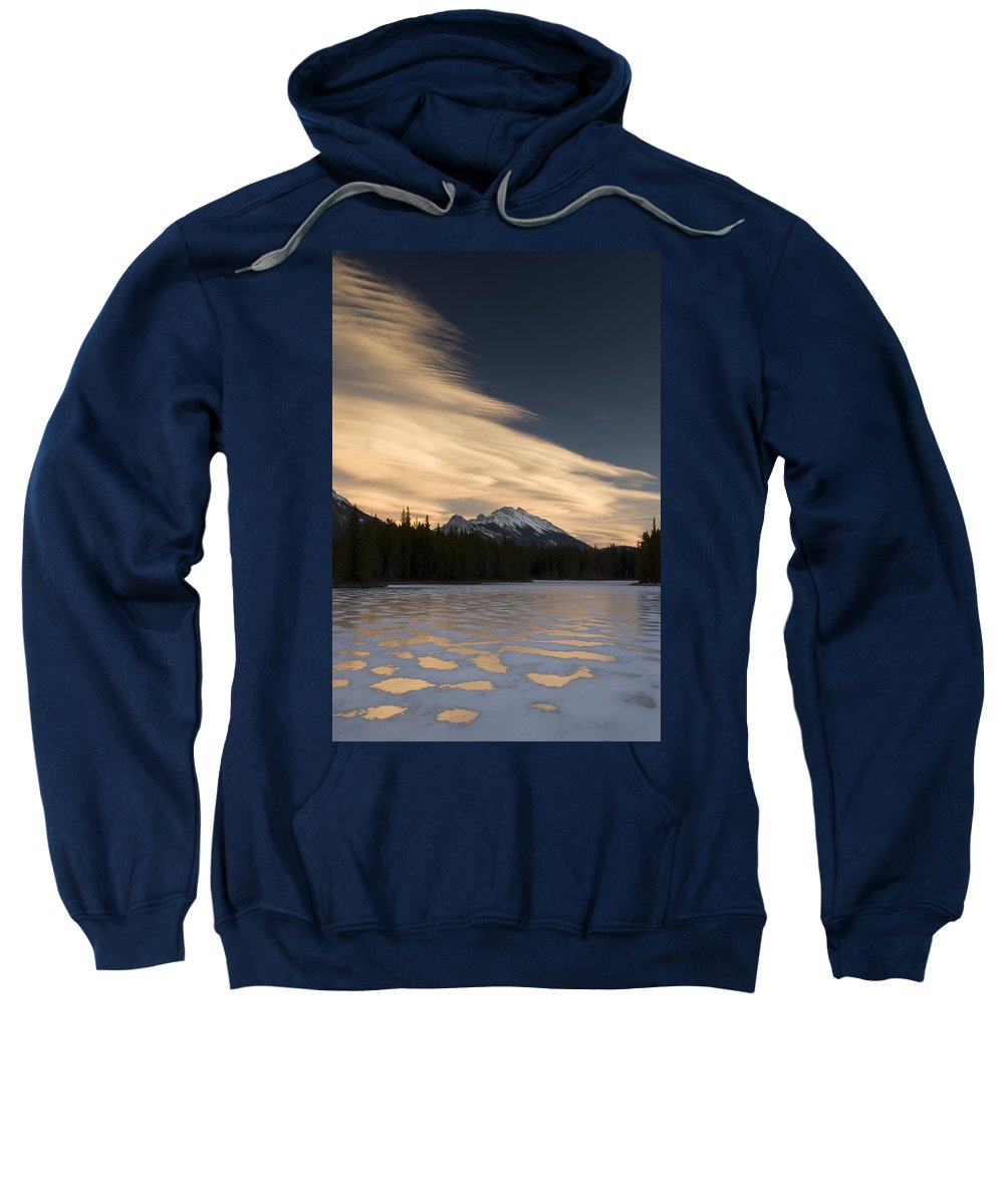 Color Image Sweatshirt featuring the photograph Mountain And Frozen Lake Kananaskis by Philippe Widling