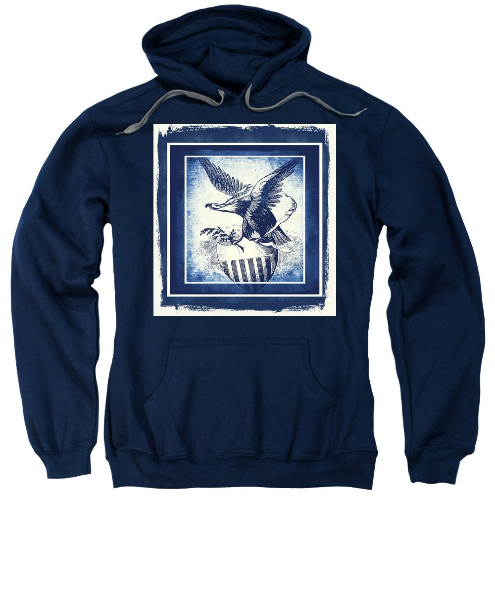 Usa Sweatshirt featuring the mixed media On Eagles Wings Blue by Angelina Tamez