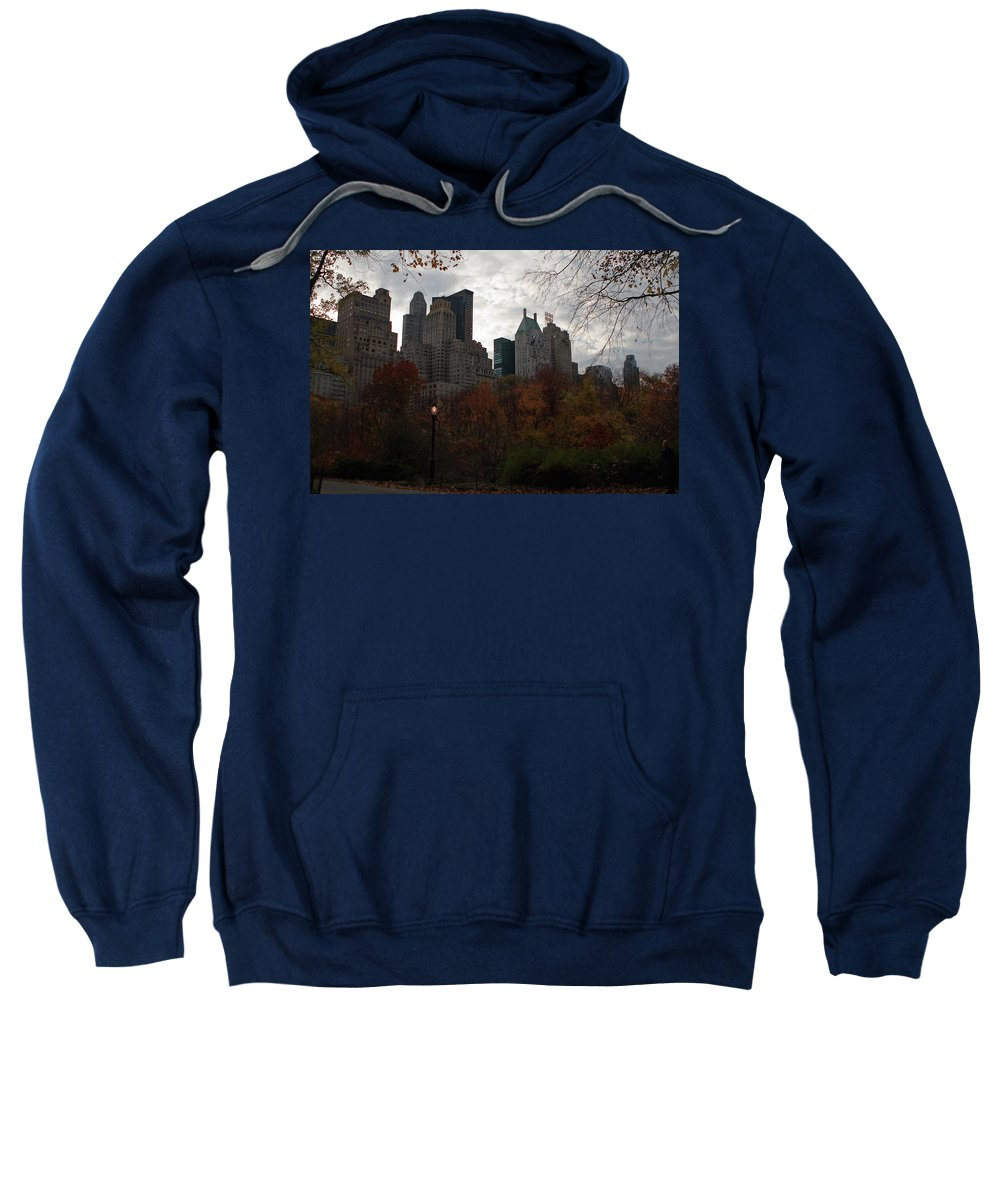 New York City Sweatshirt featuring the photograph One Light On In Central Park by Lorraine Devon Wilke